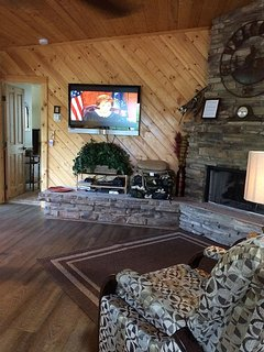fireplace and flat screen