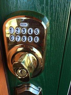 Front door lock is coded.