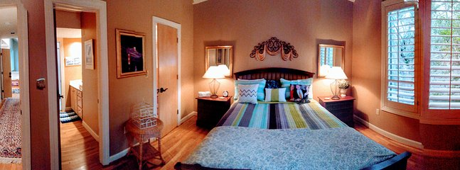 Panoramic view of Guest suite--to the far left is the hallway, middle left is bath.