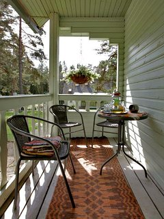 Downstairs sheltered terrace where to eat a good breakfast or enjoy herbal teas.