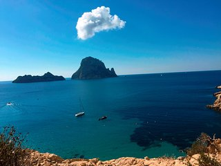 La Brisa anchored in front of magical Es Vedra