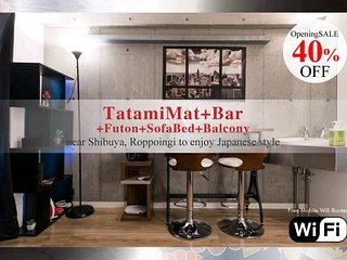 5) 40%OFF now high floor apartment with tatami futon, Balcony at Roppongi area
