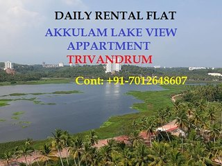 3bhk Ac fully furnished lake view apartment for short stay near akkulam Tvm