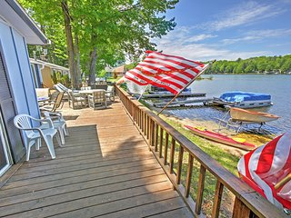 Rustic 2BR LeRoy Cottage w/Huge Private Deck, Fireplace & Stunning Water Views - Enjoy Unparalleled Direct Access to Rose Lake!