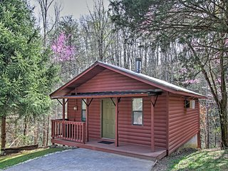Handsome 1BR Pigeon Forge Log Cabin w/Wifi, Gas Fireplace, Jacuzzi Tub, Hot Tub, & Spacious Deck! Conveniently Located Near Popular Attractions, Delicious Restaurants, Skiing & More!