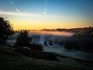 Morning mist over the hidden valley.