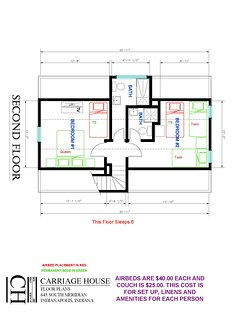 Carriage House Second Floor  Extra Bed Setup Floor Plan