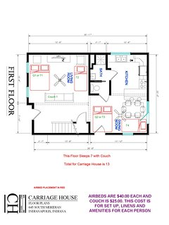 Carriage House First Floor  Extra Bed Setup Floor Plan