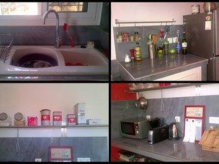 Équipement cuisine, accessoires et vaisselle pour 8 à 10 personnes.