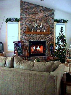 Wood burning fireplace in Great room.