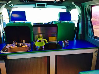 Camper Van Motor Caravan  VW T5 LWB, with ALPINE AudioVisual system, Ketton