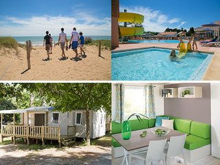 ACCES DIRECT PLAGE  MOBILE HOME 6 PERSONNES DANS PINEDE AU CALME BORDE PAR FORET