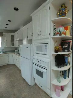 Kitchen cabinets and appliances.