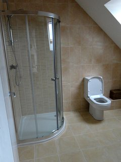 An Ensuite Bathroom with Shower, Toilet and Wash Basin
