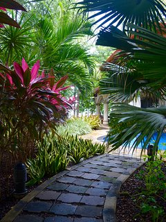 Enjoy a walk through the garden to the pool.