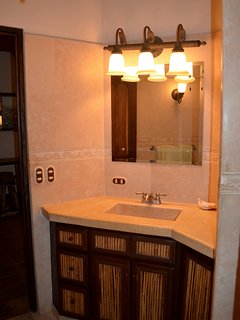 Well lighted mirror.