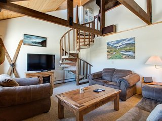 Spacious duplex w/ fireplace, mountain views; near town & world-class skiing!