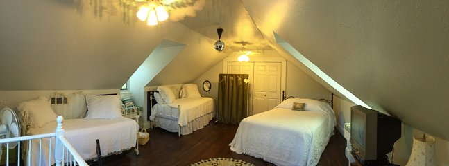 "Panoramic view of ""Louisa May Alcott"" Attic bedroom-Queen and 2 Daybeds"