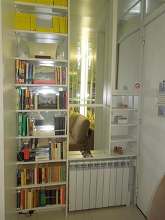 Bookshelves with guides book, good books, speakers for your MP3 & large heater.