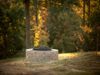 Fire pit at the Rose Cottage.  Mountain views.