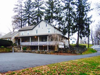 Historic French Country Farmhouse  on 14 Pastoral Acres Next to Covered Bridge