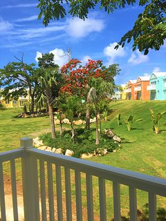 VIEW OF THE LUSH GARDENS FROM THE MASTER BEDROOM BALCONY