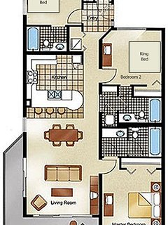 Floor Plan Example.  Please see our photos and descriptions for actual furniture and placement in condo.  Be sure to...