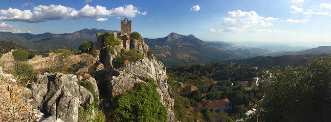Gaucin castle and view towards the Mediterranean.