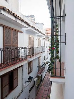 Picturesque Andalusian-style balcony facing a quiet area of Old Town Marbella.