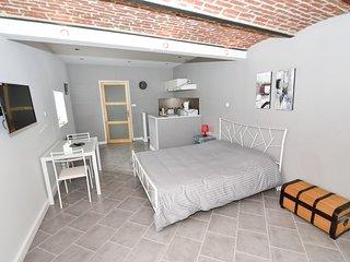 Gite Naples-studio de 30m2. coin salon avec cuisine equipee et  salle de bains..