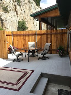 Private patio area right at your front door.  BBQ & patio furniture