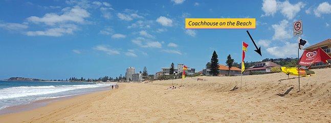 Le Coachhouse est juste sur le sable doré de la Narrabeen tout près des drapeaux life savers surf