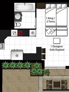 Art Deco Suite Floor plan