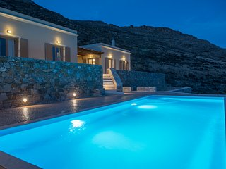 Syros beautiful sea view villa Blue Line with swimming pool, Finikas