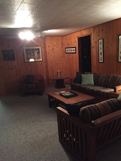 Nighttime living room comfort.  Everything you want in a lake cottage.