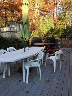 Back deck in fall.  22' Weber Smokey Mountain smoker and stainless grill are on-site for use too.
