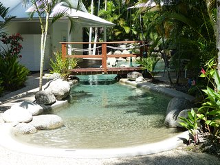 Lovely pool with waterfall. Cool in summer, heated in winter.