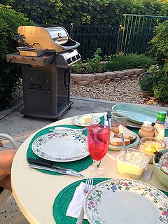 Grills off the pool area can be used anytime