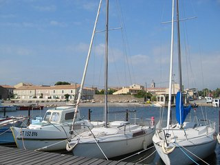 Marseillan cottage - water view across sea to Sete.Book now for Nov/Dec or 2019