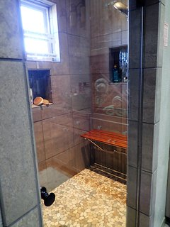 steam shower with two shower heads.