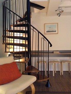 spiral stair up to mezzanine
