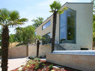 Wonderful modern family hilltop villa, infinity pool flows into Motovun
