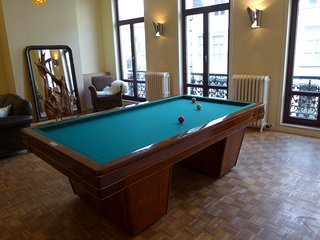 pooltable in living room