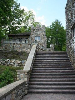 13-foot wide stairway looking up at The Castle Cottage.