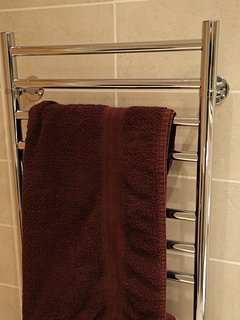 Heated towel rails in bathrooms