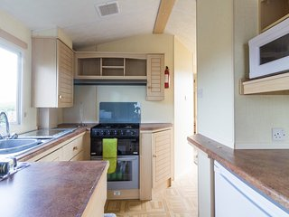 Modern kitchen in our static caravan at Lees Holiday Park.