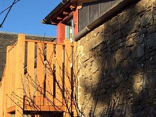 Oak stair up to first floor former hayloft