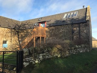 Stair up to the hayloft,off road parking and patio and garden