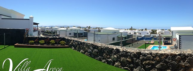 Beautiful views from the garden across the Atlantic to the islands of Fuertaventura and Lobos