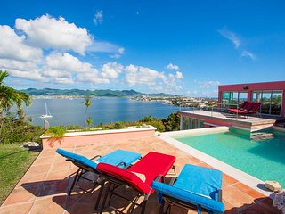ALEXANDRA... enjoy breathtaking views from this comfortable, very private villa, Terres Basses